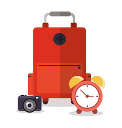 Suitcase photo camera clock vacation vector