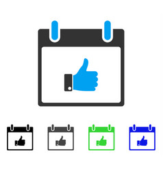 Thumb up hand calendar day flat icon vector