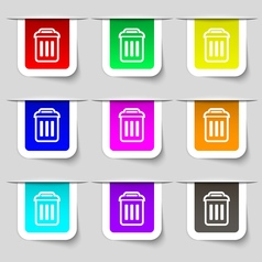 trash icon sign Set of multicolored modern labels vector image