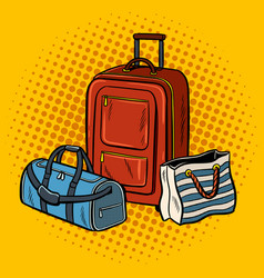 Travel bags pop art vector