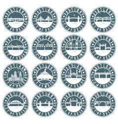 Vintage grunge labels set of Portland Oregon USA vector image