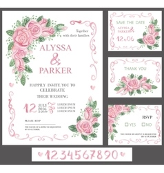 Wedding invitation card setWatercolor pink roses vector