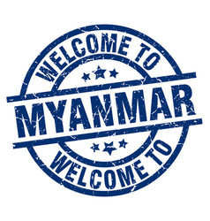 Welcome to myanmar blue stamp vector