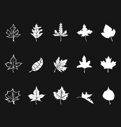 white maple icons on black background vector image