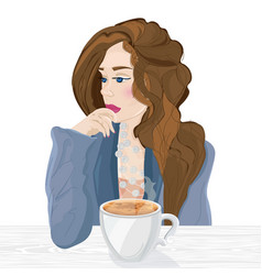 woman drinking coffee cartoon character vector image