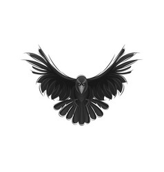 black raven isolated on white background vector image