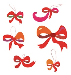 Bows set in red colors funny vector image