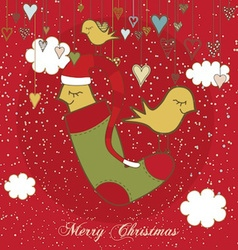 Christmas Card With Sweet Birds vector image vector image