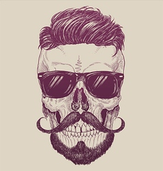 Hipster skull with sunglasses hipster hair vector