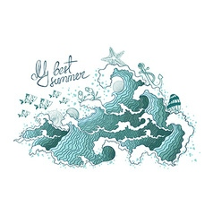 Summer of ocean waves and marine life vector image
