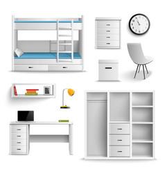 teen room realistic elements vector image