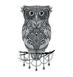 black hand drawn owl sitting on branch vector image