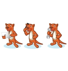 Brown mustela mascot with laptop vector