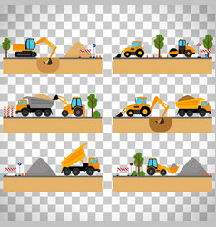 Building site machinery on transparent background vector
