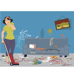 Cleaning a messy room vector image