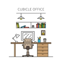 Cubicle office with furniture and equipment vector image vector image