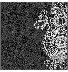 hand draw ornate black and white floral pattern vector image