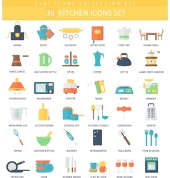 kitchen color flat icon set Elegant style vector image vector image