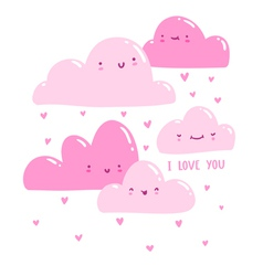 Pink valentine clouds vector image vector image