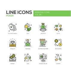 Poker - line design icons set vector image