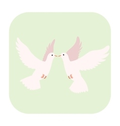 Two doves cartoon icon vector image vector image