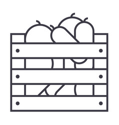 vegetables in harvest box line icon sign vector image