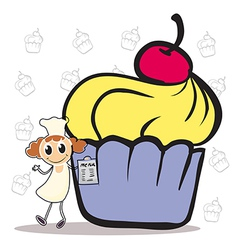 A chef holding a menu beside a giant cupcake vector image vector image