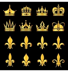 Crowns in gold black vector image vector image