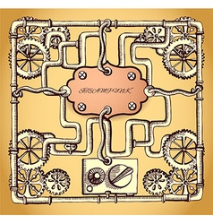 Drawn industrial steampunk style frame vector image vector image