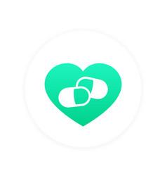 heart pills logo element pharmacy sign vector image