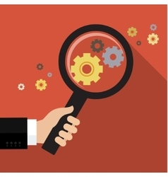 Magnifying optical glass with Gears vector image vector image