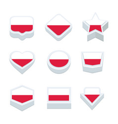 poland flags icons and button set nine styles vector image vector image