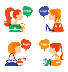 Set of beautiful girl silhouette with fashion icon vector image