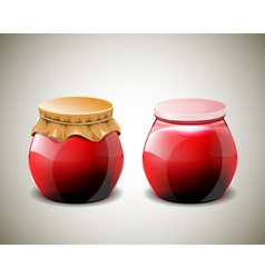Two jar of jam with plastic and paper cap vector image