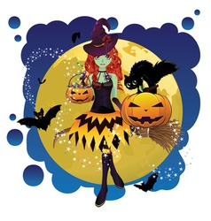 Witch and Full Moon10 vector image vector image