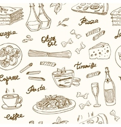hand drawn seamless pattern with italian vector image vector image