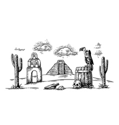 Mexican desert landscape with griffin on barrel vector image vector image