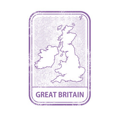 Stamp with contour of map of great britain vector