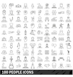 100 people icons set outline style vector