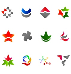 12 colorful symbols set 13 vector image