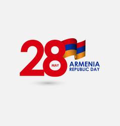 28 year armenia republic day celebration template vector