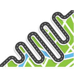 a winding road with markings top view with shadow vector image