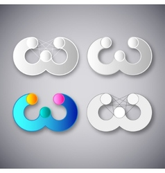 Abstract combination of letter w vector