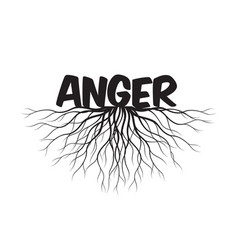 anger text and idea concept with leaves and vector image