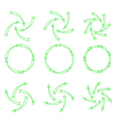 arrows outline green vector image