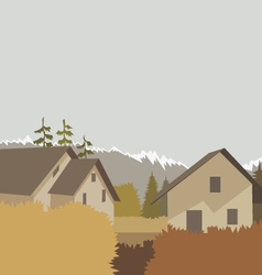 Autumn mountain village background vector