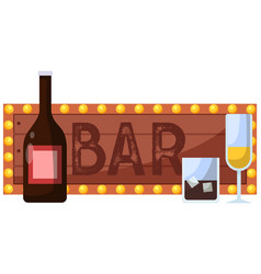 bar inscription on sign with pink background and vector image