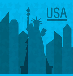 beautiful statue of liberty in new work city vector image