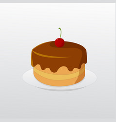 Birthday chocolate cake with cherry on dish vector