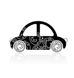 Black car with floral ornament for your design vector